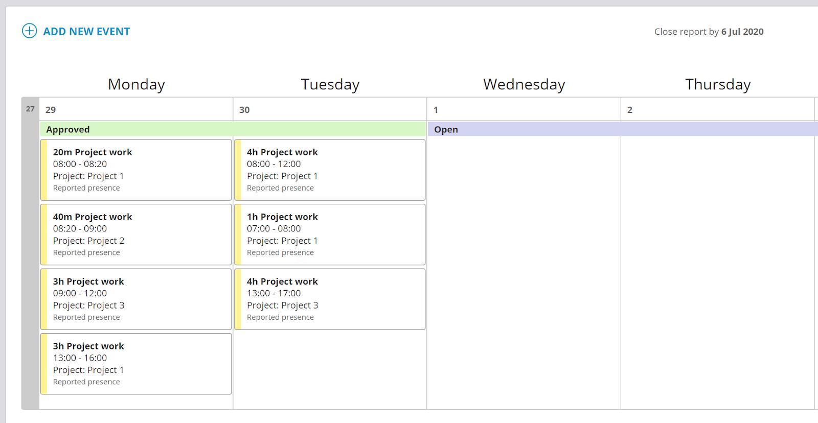 screenshot timeregistrering delt uke